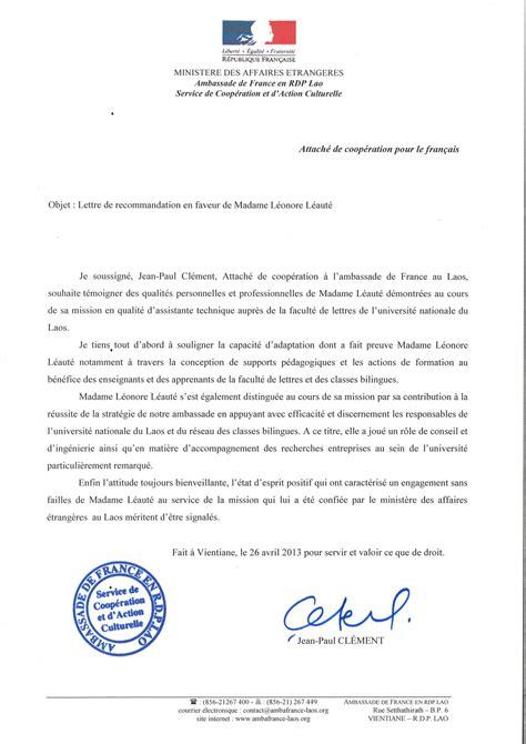 Exemple De Lettre De Recommandation Vente Lettre De Recommandation Du Scac De L Ambassade De Au Laos Le De Cv Leonore Leaute