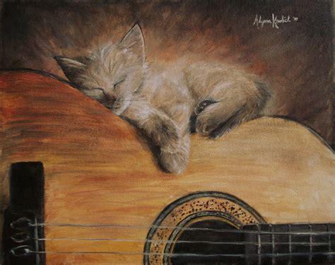cat guitar wallpaper sleepy kitten on a guitar by adkrol on deviantart