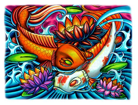 stinky monkey tattoo tony ciavarro koi print