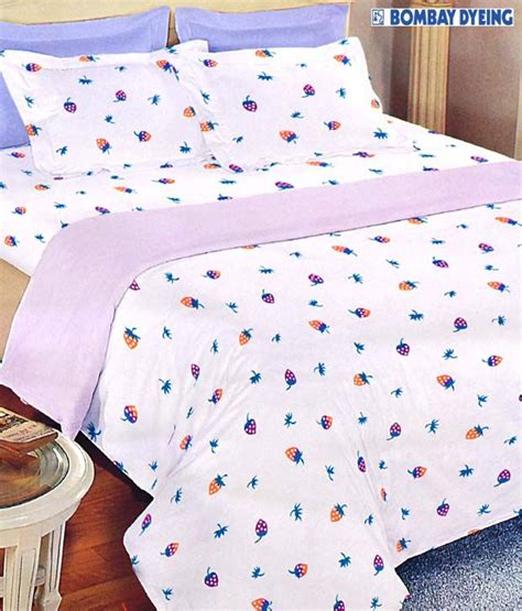 bombay dyeing bed sheets bombay dyeing white strawberry print bed sheet with free