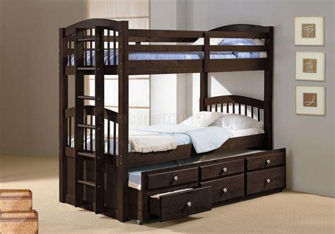 tri bunk beds soft mocha finish contemporary twin tri plex bunk bed