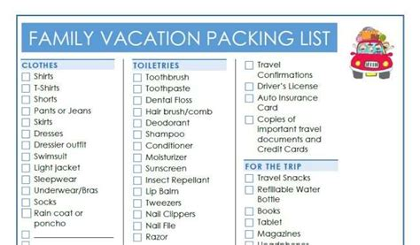printable travel checklist for family family vacation essentials 10 tips you ll love