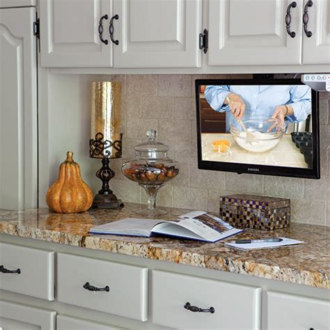 kitchen tv under cabinet mount kitchen makeover done right cooking with paula deen