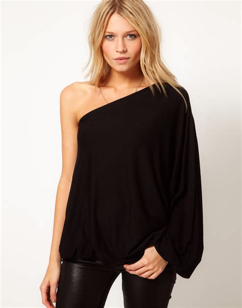 Feto One Shoulder Top In Navy lyst asos top with one shoulder volume sleeve in black