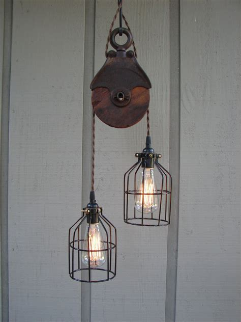 Pulley Light Fixture by Upcycled Vintage Farm Pulley Lighting Pendant With Bulb Cages