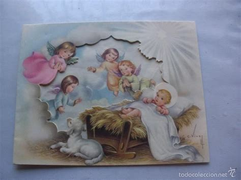 imagenes catolicas antiguas encantadora tarjeta de navidad troquelada de 1957