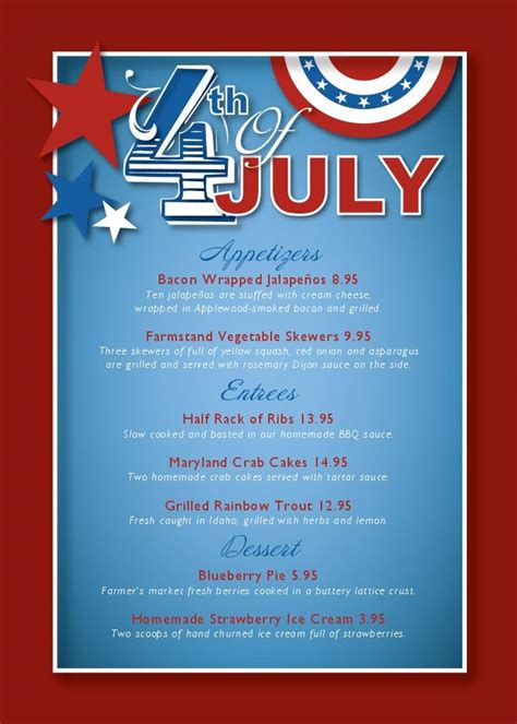 4th Of July Menu Template cancel save