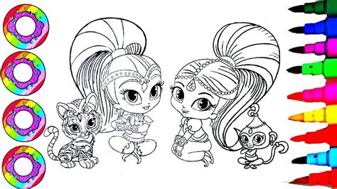 shimmer and shine l coloring drawings shimmer and shine with their rainbow