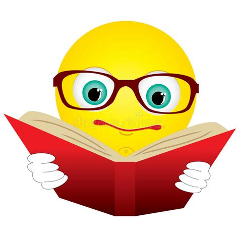 emoji reader smiley read book stock vector illustration of hold math