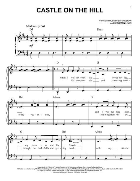 ed sheeran castle on the hill chord ed sheeran castle on the hill sheet music
