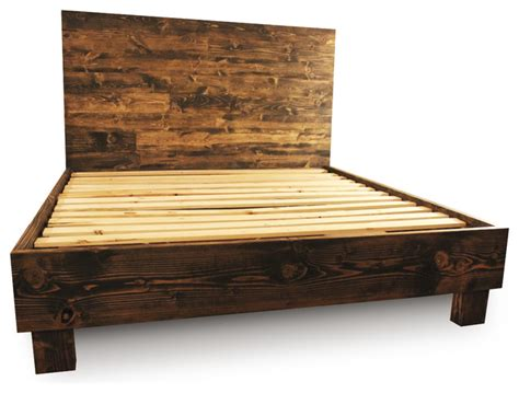 farm style platform bed frame dark walnut queen rustic