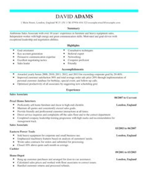 Sales Associate CV Example for Sales   LiveCareer