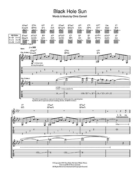 black hole sun chords black hole sun guitar tab by soundgarden guitar tab 115632