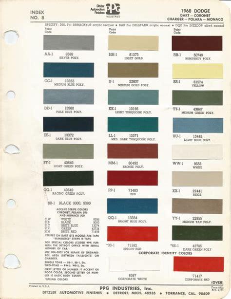 1968 dodge charger factory paint chip chart 500px wide paint code mm 1 colour 60492 type