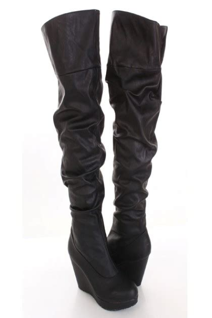 black faux leather slouchy thigh high wedge boots
