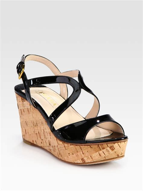 sandals cork prada patent leather and cork wedge sandals in black lyst
