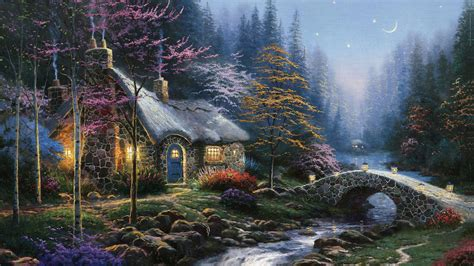 kinkade cottage paintings 1366x768 twilight cottage painting kinkade