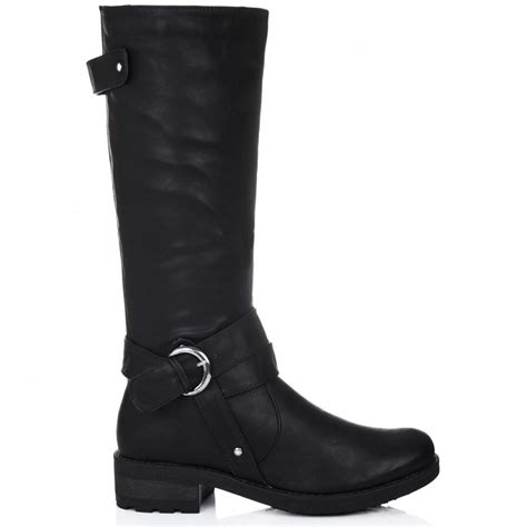 buy beloved flat knee high boots black leather