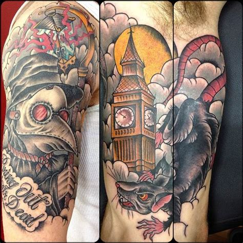 old school tattoo upper arm old school style colored upper arm tattoo of plague doctor