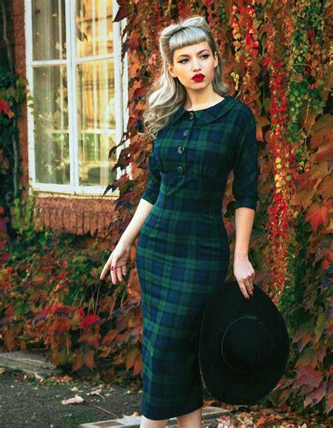 Vintage Style by Vintage Style Black Tartan Pencil Dress By