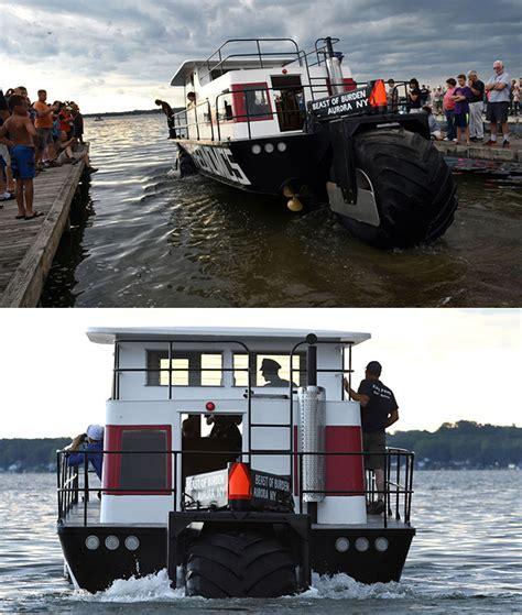 hibious houseboat looks like a monster truck is - Houseboat Zombie Apocalypse