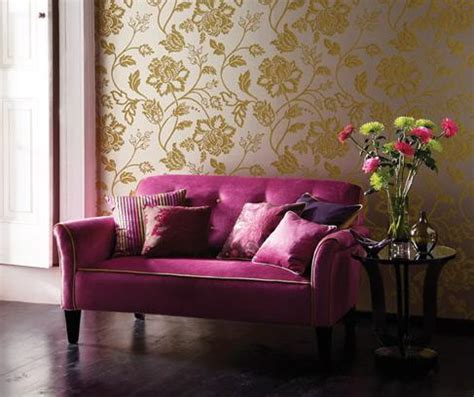 Living Room Wallpaper Or Paint Home Quotes Theme Design Purple And Gold Color Combination