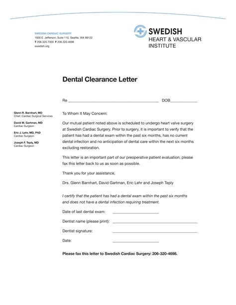 Clearance Letter Template Copy Small 14 dental clearance forms free word pdf format