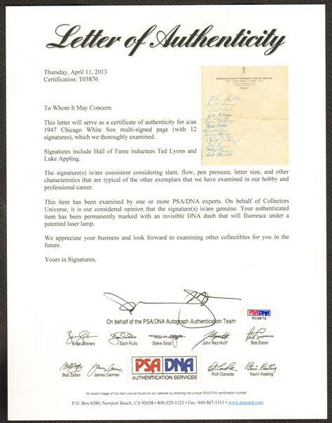 Demand Letter Coa 1947 chicago white sox team signed sheet on official