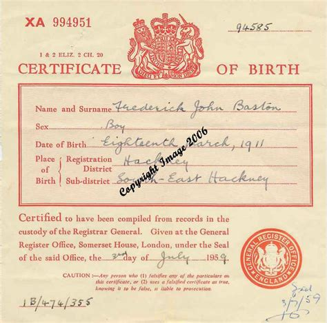 full birth certificate plymouth birth certificate 1959 50s pinterest