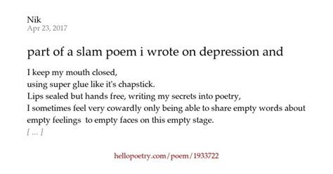 section of a poem part of a slam poem i wrote on depression and anxiety by