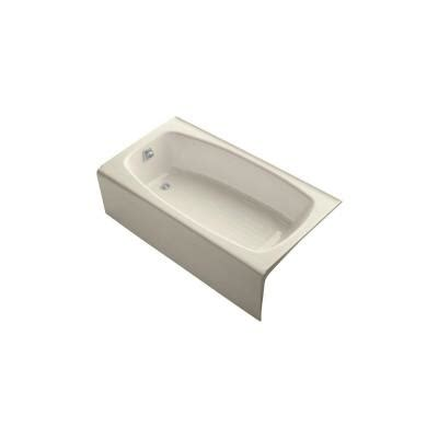 kohler dynametric bathtub kohler dynametric 5 ft left drain soaking tub in almond k