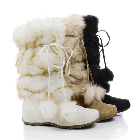 snow boots with fur tara mukluk faux fur snow boots w shearling inner lining