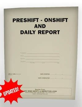 safe book report mine safety inspection books apc 6 1489 pre shift on shift