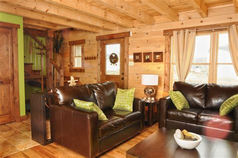 Modern Style Small Log Home 171 Real Log Style | bring some color to your log home 171 real log style