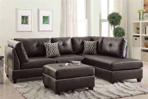 espresso sectional poundex bobkona f6973 espresso reversible chaise sectional