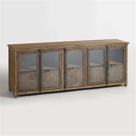 Large Wooden Storage Cabinets by Large Wood And Metal Langley Storage Cabinet World Market
