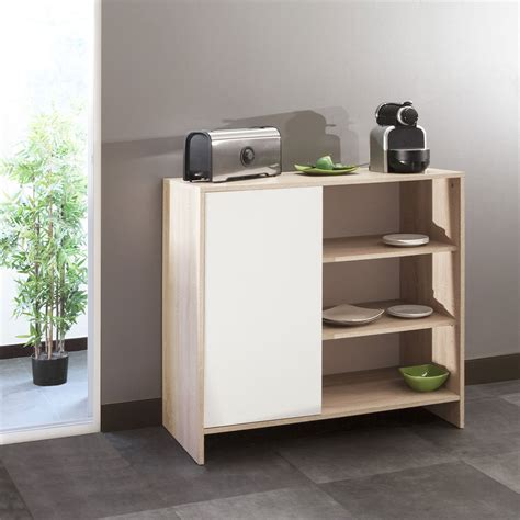 but buffet cuisine meuble bas de cuisine 1 porte 3 niches 95 cm blanc ch 234 ne