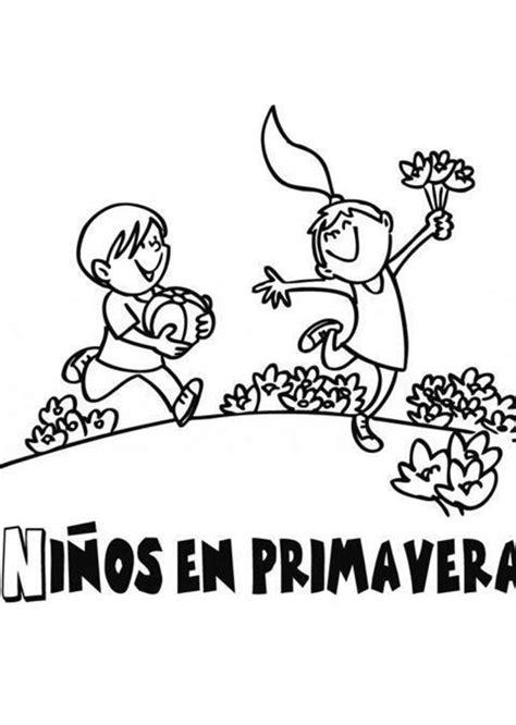 imagenes de niños jugando para colorear e imprimir primavera dibujos para colorear