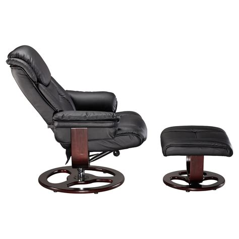 Black Leather Swivel Recliner Chair by Vienna Real Leather Black Swivel Recliner Chair W Foot