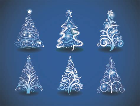 blue rays christmas tree vector background free vector in