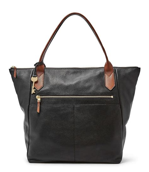 Fossil Tote Bag Leather fossil fiona leather tote in black lyst