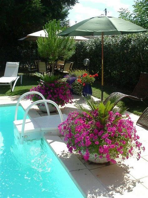 poolside landscaping pool landscaping great idea to put umbrellas in pots