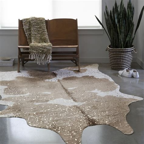 cowhide rug overstock shop clayton taupe ivory faux cowhide rug 3 10 x 5 5