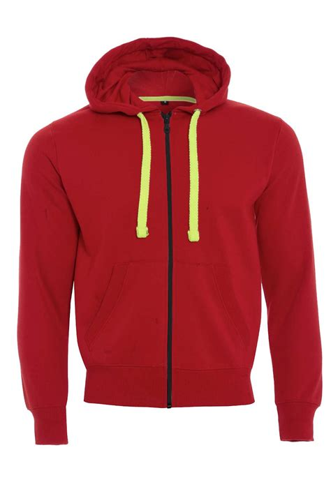 Hoodie Neon Mens Fleece Zip Up Zipper Hoodies Sweatshirt Neon Strings