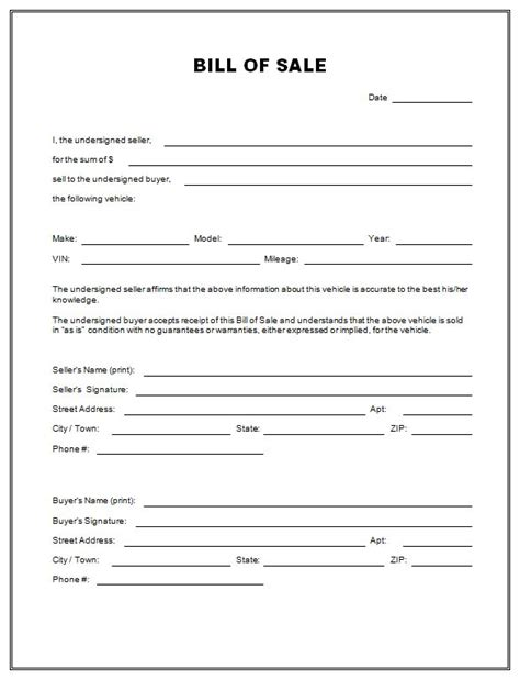bill of sale sle template free printable free car bill of sale template form generic