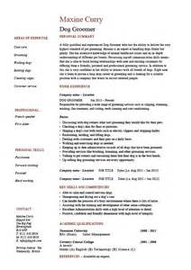 Resume Job Summary by Dog Groomer Resume Pets Salon Job Description Example
