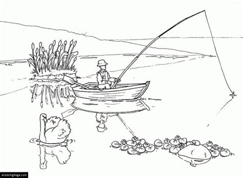 man in a boat fishing and a swan coloring page printable
