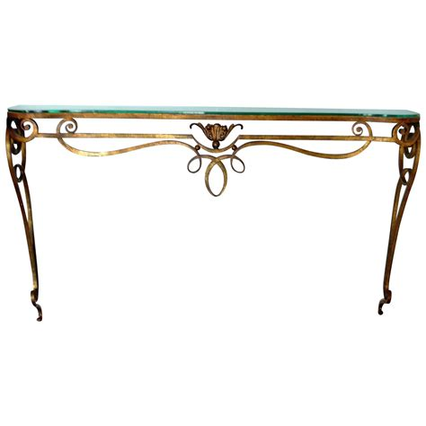 Wrought Iron Gilded Console Table With Glass Top For Sale Wrought Iron Sofa Table