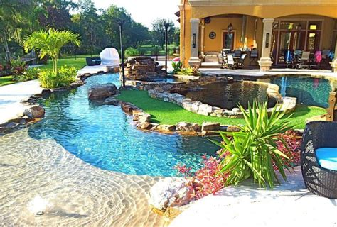 Backyard Oasis Lazy River Pool With Island Lagoon And Backyard Pool With Lazy River
