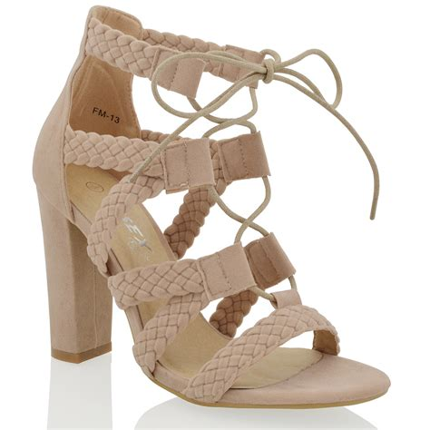 High Heels Import Gea49177bk new womens caged ankle high heel lace up woven strappy sandals shoes ebay